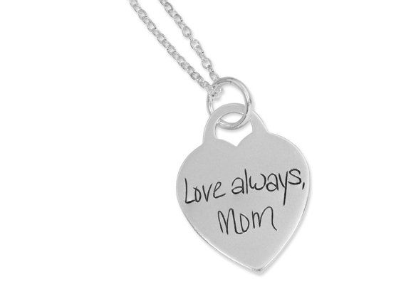 Handwriting personalized sterling silver heart necklace. Great way to send a special message or remember a loved one! #memorial