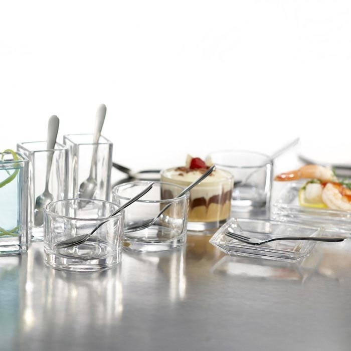 And another option  25 Piece Lugano Taster Set II  $19.95  5 Shot glasses  5 Plates  5 Bowls  5 Spoons  5 Forks