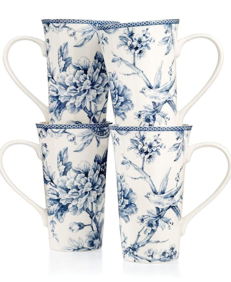 222 Fifth Adelaide Blue Set of 4 Latte Mugs