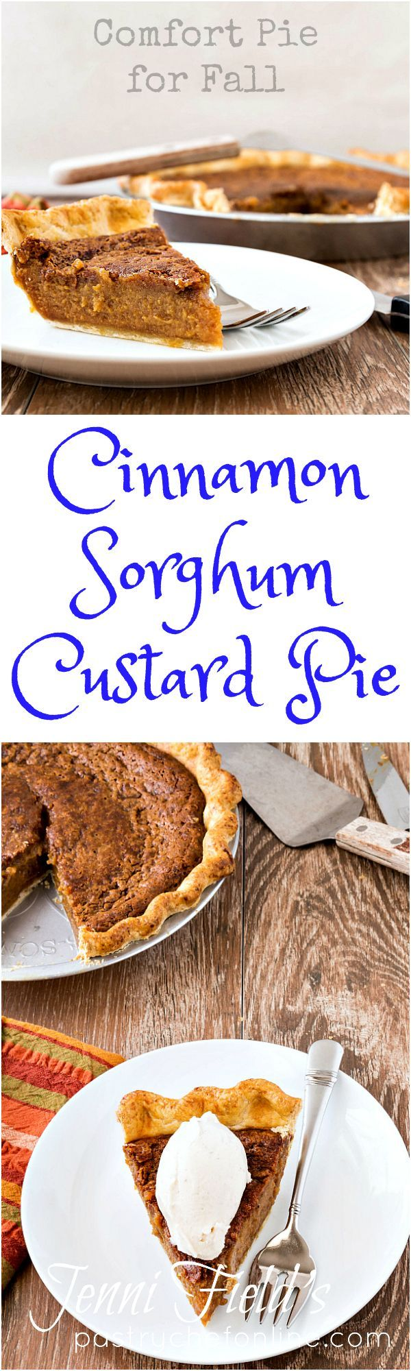 Cinnamon Sorghum Custard Pie is a comforting fall pie that is easy to make using pantry staples most of you have on hand. Sorghum syrup is worth seeking out. Consider this an alternative to pumpkin pie or pecan pie for Thanksgiving dessert, too. | http://pastrychefonline.com