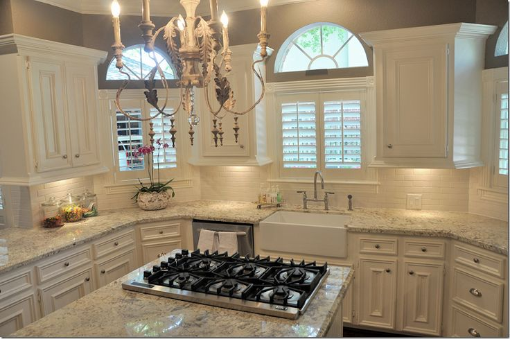 White Silver Granite Countertop : white cabinets white stone counter wood floor gray paint