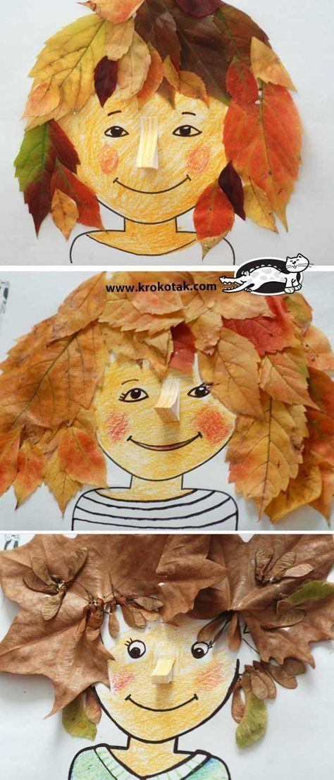 DIY Herbst: Machen Sie süße Frisuren aus Blättern. Sammeln Sie einfach Blätter mit den Kindern, und schon kann es losgehen. Süße DIY Idee für Kinder