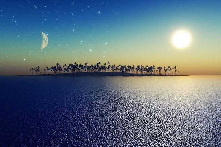 Νησιά Ψηφιακή Τέχνη - Ήλιος και η Σελήνη από τον Aleksey Tugolukov