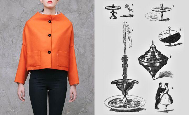 giacca arancione modello ani '60 di Stephan Janson