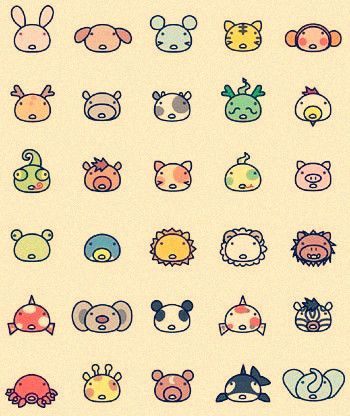 cute little animal faces. possible tattoo idea. possible finger or ankle placement.