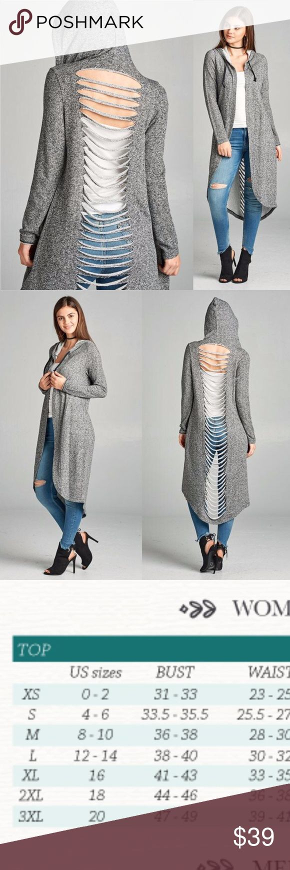 NEW S,M Cut-Out Back French Terry Hoodie Sweater New french terry grey hoodie with cut-out back ladder style design. 70% polyester 30% cotton. Long duster style drape with open front. Drawstring hood, long sleeve. Trendy modern style.  No trades, bundle discounts and offers welcome. Fast shipping. boutique Sweaters Cardigans