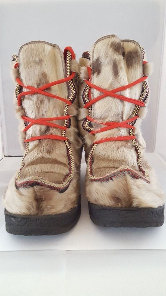a7bd5f423ff Gerna Vintage Seal Skin Winter Snow Boots Size UK 7 Handmade Norway ...