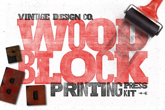 WoodBlock Printing Press Kit by Vintage Design Co. on Creative Market