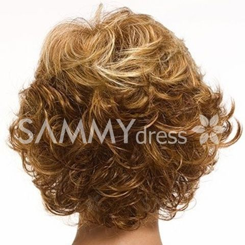 Shaggy Curly Blonde Brown Mixed Inclined Bang Charming Short Heat Resistant Fiber Capless Women's Wig