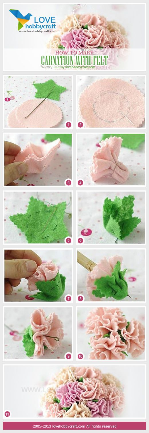 how to make carnation with felt