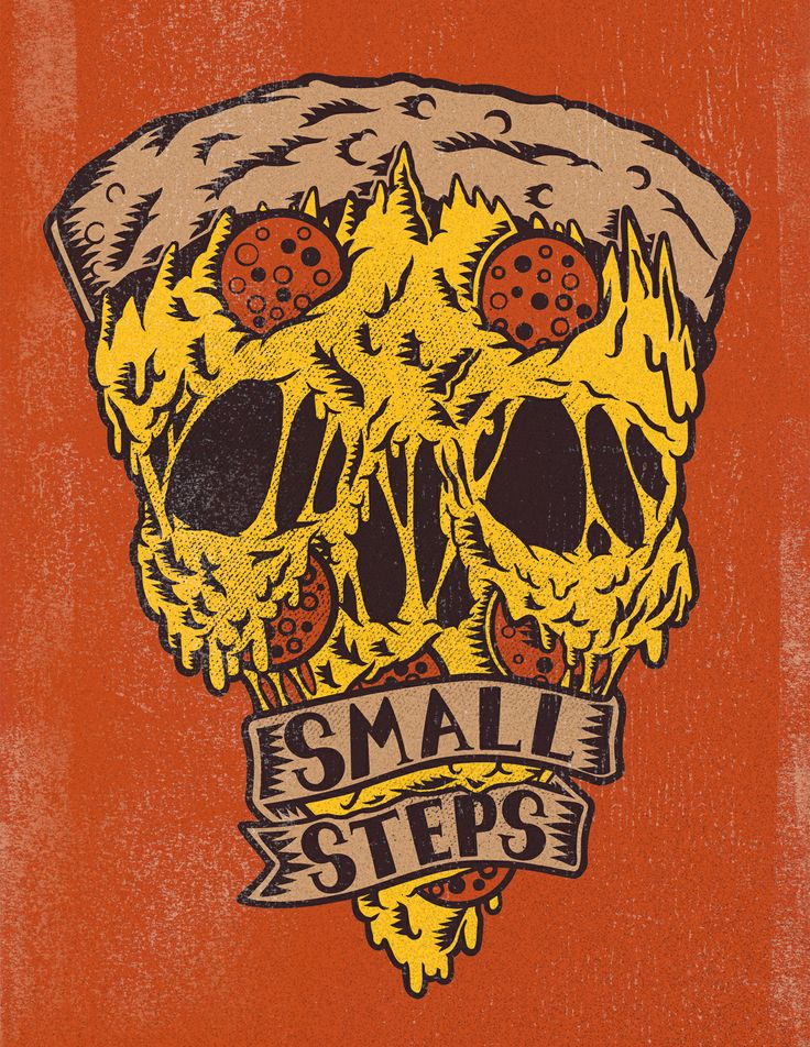 Behold the pizza skull this is an illustration for athens oh hardcore band