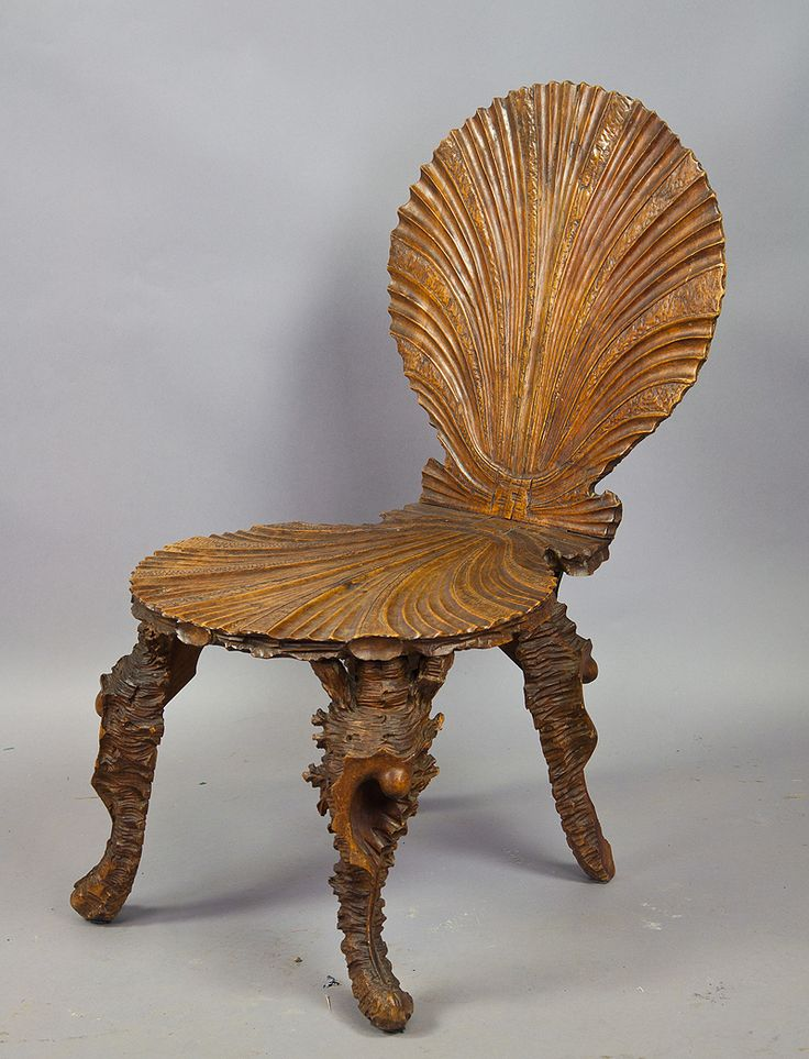 Carved Wood Grotto Chair, Seashell Chair Ca. 1880