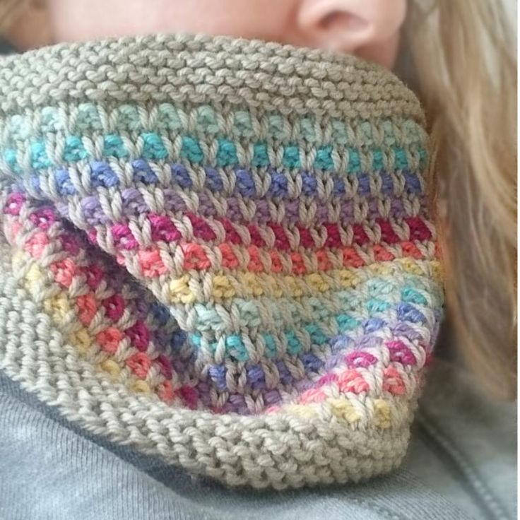 Rainbow Slip Knitted Cowl Pattern | Craftsy