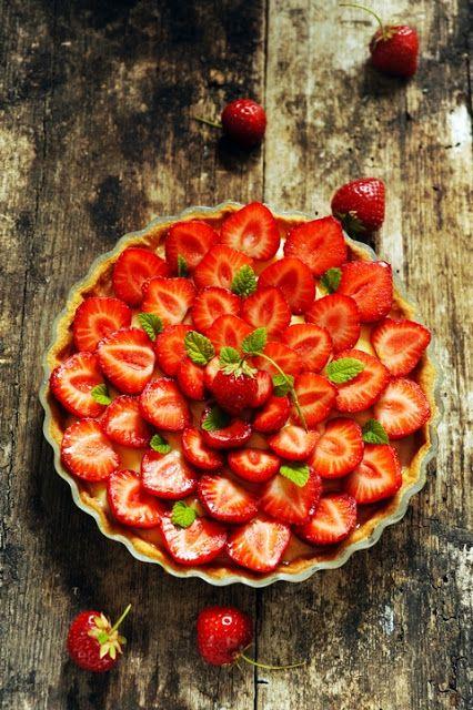 tarte aux fraises à la menthe