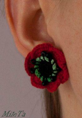 Crochet Earrings Red Poppy Flowers with Silver 925 by MileTa