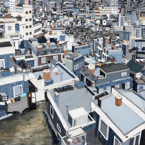 Laundry on the rooftop, 2010, Denim Collage / So young CHOI