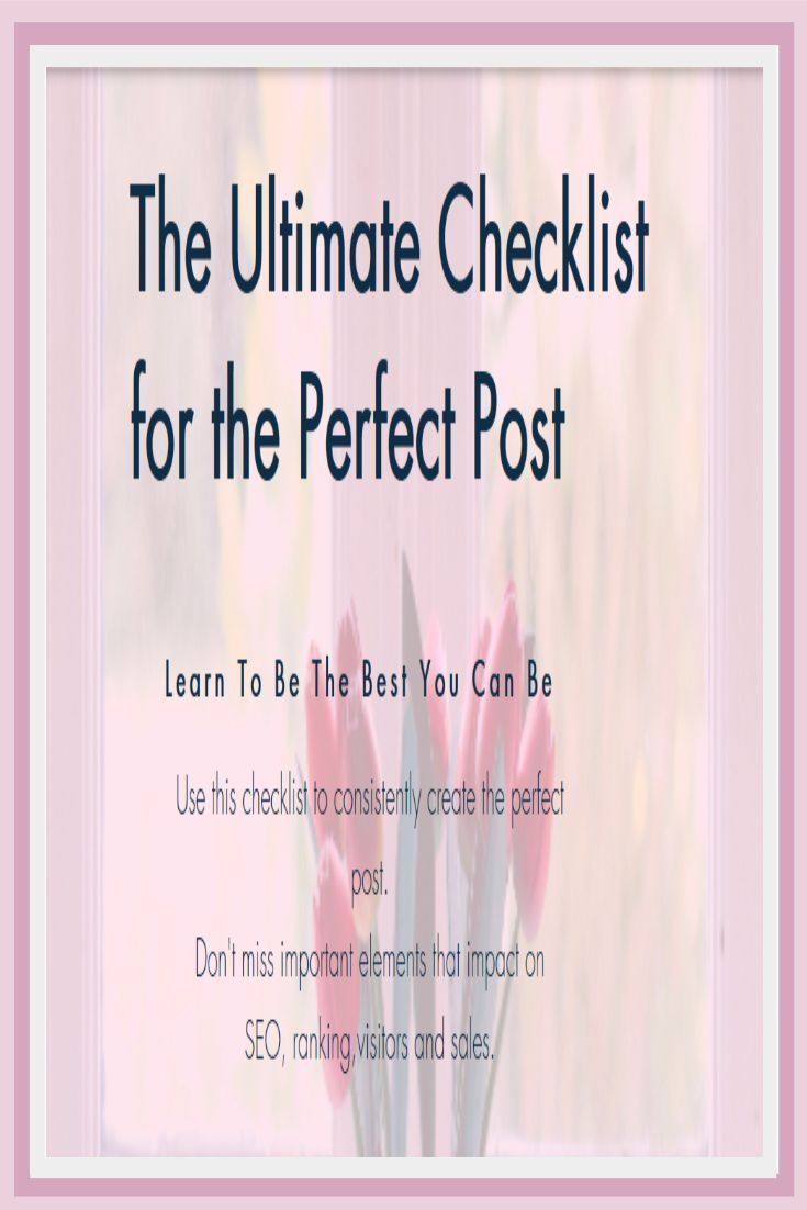 Enjoy this checklist of elements to include in your post before you publish #checklist #post #blog https://hotmarketingtools.blogspot.com.au/2017/04/the-ultimate-checklist-for-perfect-post.html