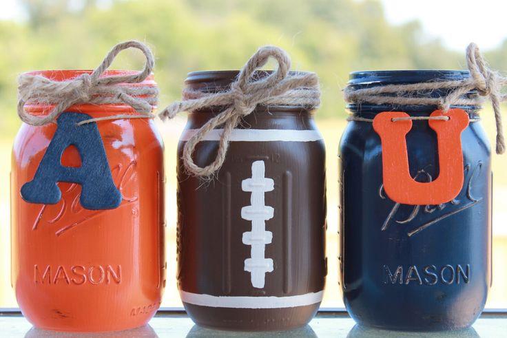 Auburn University Collegiate Football Painted/Distressed Mason Jars by PerfectlyCreatedForU on Etsy https://www.etsy.com/listing/204070495/auburn-university-collegiate-football