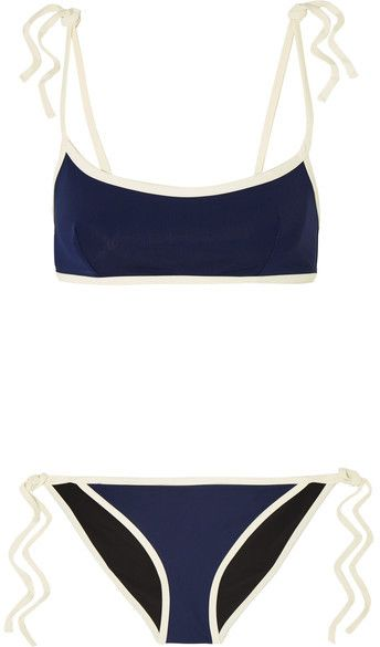 Solid and Striped - + Poppy Delevingne Two-tone Bikini - Navy
