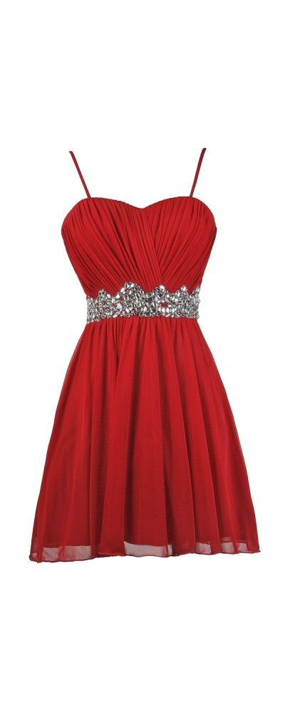 Lily Boutique Brightly Shining Rhinestone Red Party Dress, $58 Red Embellished Party Dress, Cute Red Dress, Red Holiday Dress, Red Rhinestone Dress www.lilyboutique.com