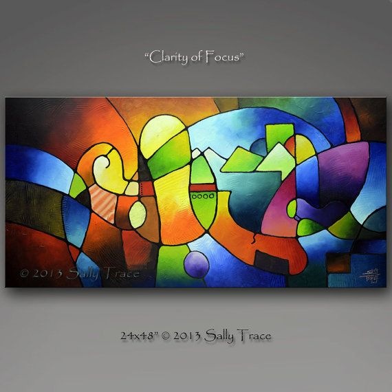 Clarity of Focus A geometric painting    20x40 or 24x48 inch giclee printed on archival art canvas with light-fast giclee inks, gallery wrapped