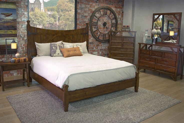 Farmhouse barn door e king bed beds bedroom mor for Bedroom furniture for less