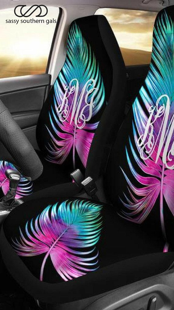 Personalized Seat Cover Large Neon Palm Leaf Monogrammed Car Tags Covers