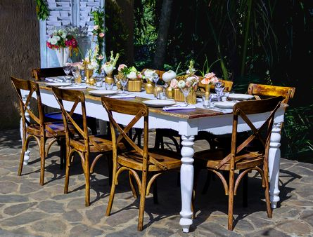 Cross Back Teak chair and Farmhouse table (Bloomz) | Bali Ultimate Furniture Rental