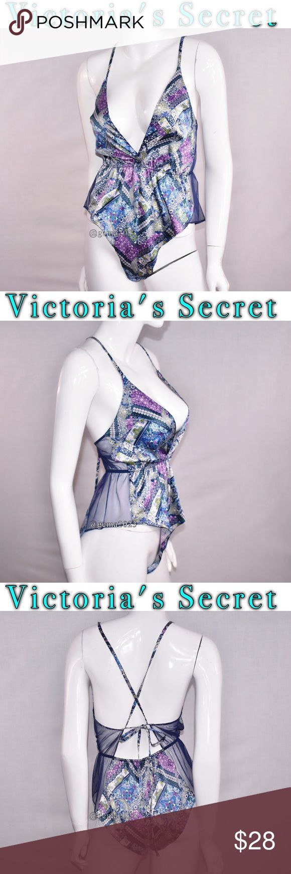 Victoria's Secret lingerie M Sleep Romper New with tag Sexy satin with mesh Adjustable straps Elastic waist all new with tag Sleep Romper Victoria's Secret Intimates & Sleepwear