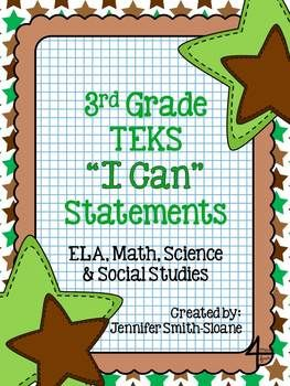 """3rd Grade TEKS """"I Can"""" Statements Bundle- All 4 Core Subjects"""