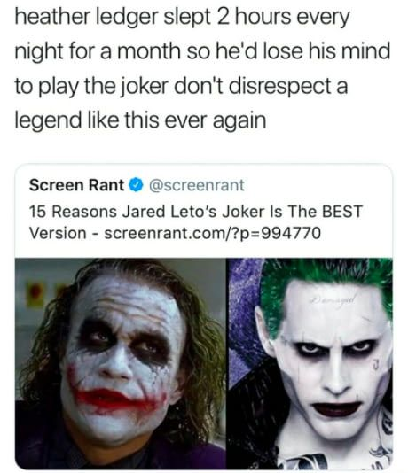 How dare you. How is this even a thing. There's no comparison between these two. Heath Ledger. Best. Joker.