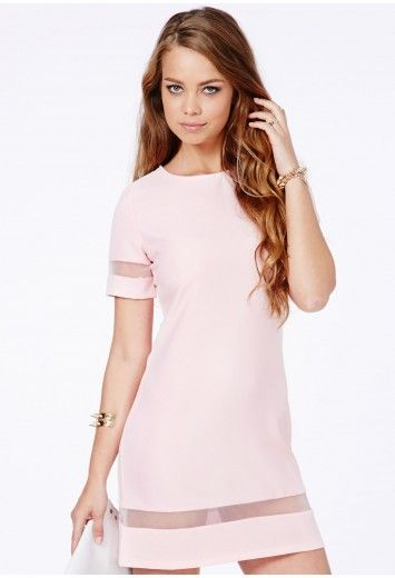 Missguided - Soledad Mesh Panel Mini Dress In Baby Pink