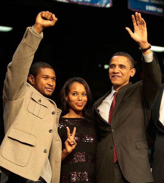 Singer Usher and actress Kerry Washington are ardent Obama supporters. In fact, Washington is an Obama surrogate on the campaign trail.