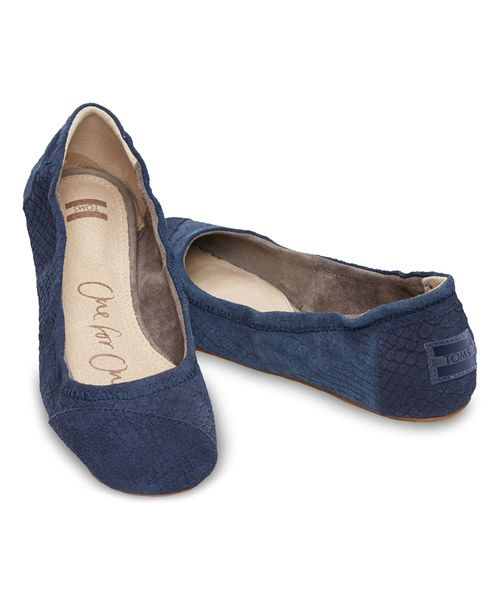 Look at this TOMS Blue Snake Classic Suede Ballet Flat on #zulily today!