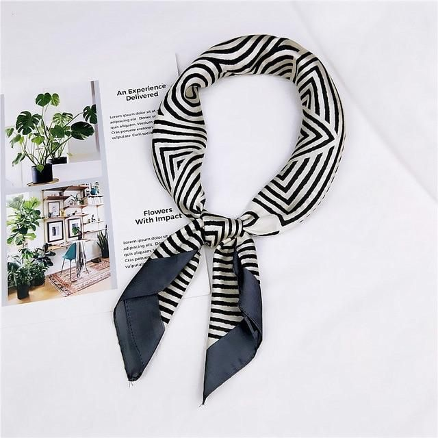 70*70cm New Girls Silk Scarf Print Hijab Scarf Foulard Sq. Head Fashionable Feminine Femme Hair Tie Band Neck Put on Bandana