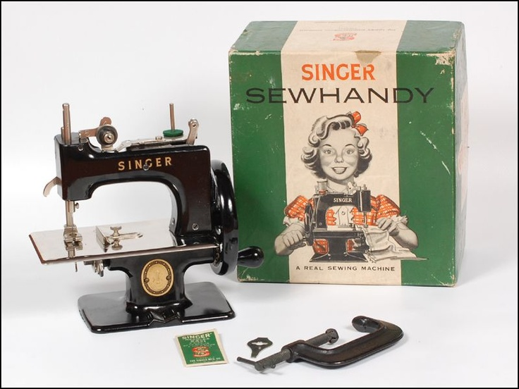 1950s Singer Sew Handy Child's Sewing Machine with original Box.  I have this toy too complete with the box and C clamp.
