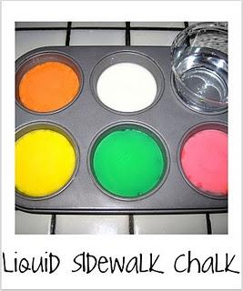 Liquid Sidewalk Chalk (Viele süße Projekte für die Kleinsten in diesem Blog)   – Projects for little ones
