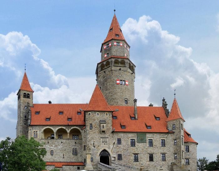 Bouzov Castle (Czech: Hrad Bouzov) is a castle located in the village of Bouzov, some 30 km northwest of Olomouc, Czech Republic. It was built in early 14th century.