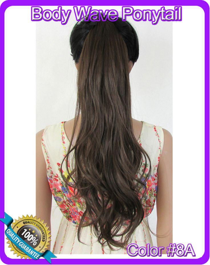 22  ( 55 см ) 90 г объемная волна лента хвост шиньон волосы частей клип в наращивание волос цвет # 8A эш браун