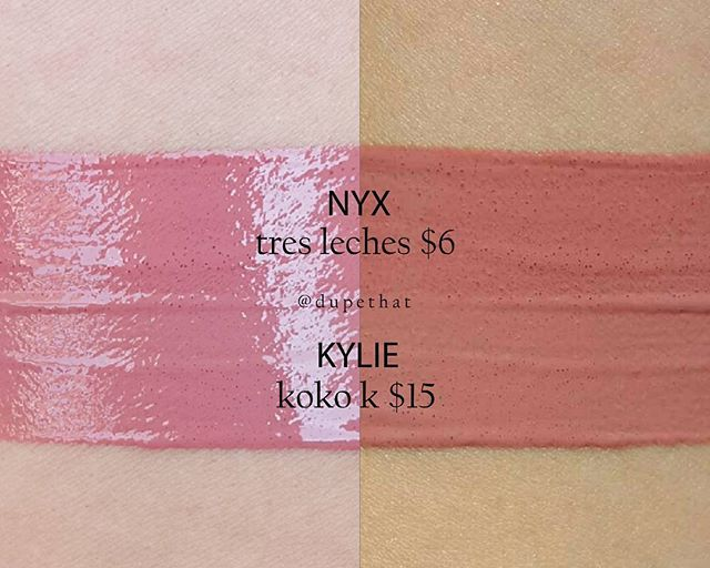 WEBSTA @ dupethat - @nyxcosmetics Intense Butter Gloss in Tres Leches looks just like @kyliecosmetics Gloss in Koko K.