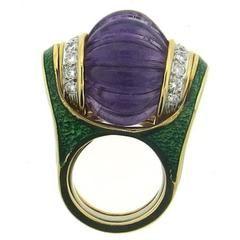 David Webb Enamel Carved Amethyst Diamond Gold Platinum Ring