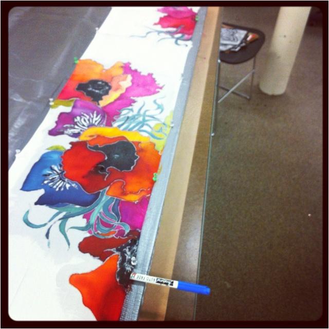 Mid-process silk painting.