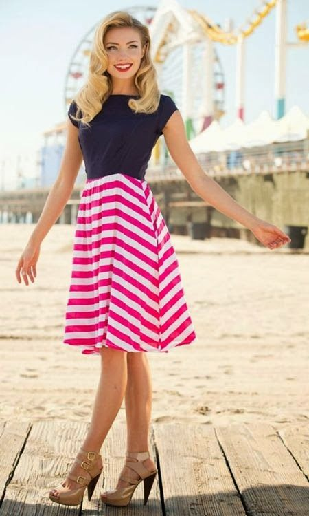 Modest skirt with navy top (link leads to blog with picture)