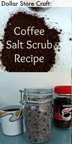 5 Minute DIY Coffee & Coconut Sea Salt Scrub Recipe -- this dollar store craft recipe is a great gift idea