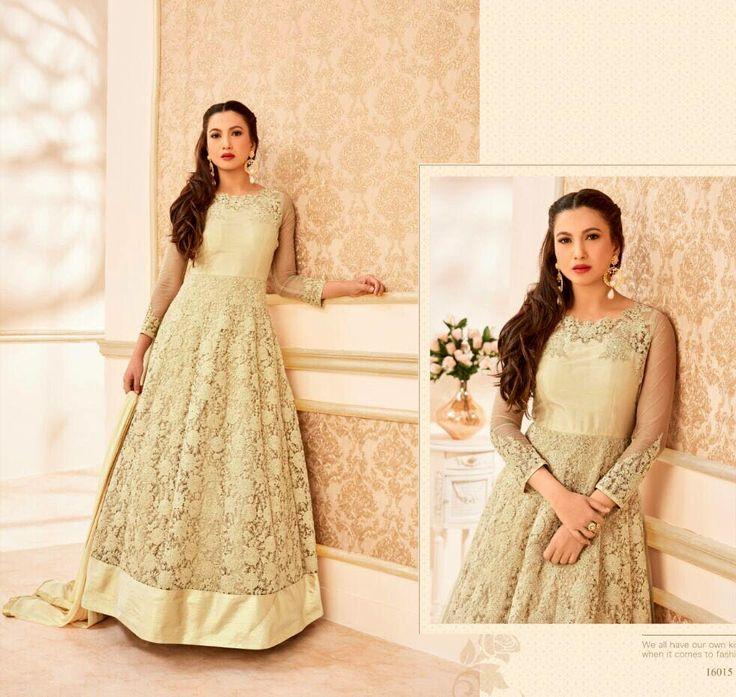 Gauhar Khan Beige Latest Bollywood Style kalidaar suit in Net