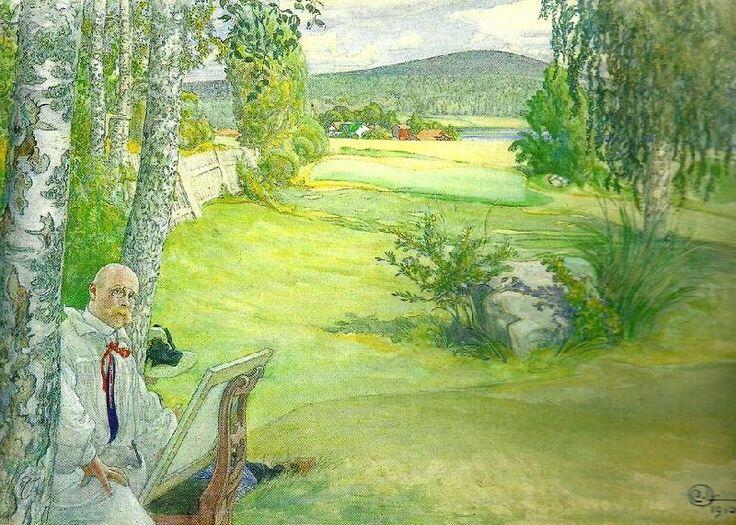 Carl Larsson paradiset-sjalvportratt i landskap (watercolor, 1894)