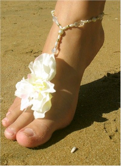 Barefoot beach wedding sandals / foot jewellery. #Shoes #Nautical #Her #Bride #B…