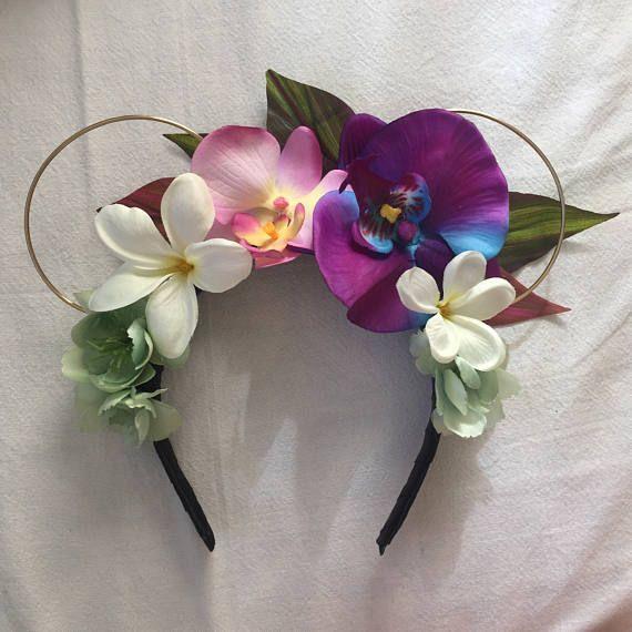 Purple Polynesian Princess Hawaiian Floral Wire Ears Headband