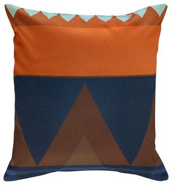 Savanna Pillow Cover, Orange/Blue Multi contemporary bed pillows and pillowcases