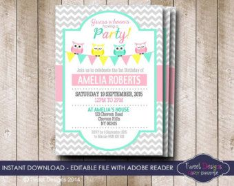 OWL BIRTHDAY Invitation Instant download OWL Invitations Owl